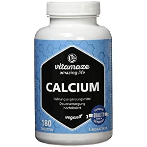 Calcium Tabletten hochdosiert vegan, 180 Tabletten für 3 Monate, 800 mg Kalzium-Carbonat pro Tagesdosis, Made-in-Germany, ohne Magnesiumstearat