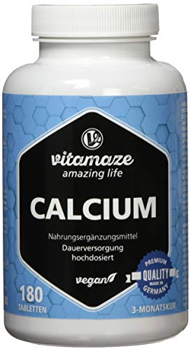 Calcium Tabletten hochdosiert, 180 Tabletten vegan für 3 Monate, 800 mg Kalzium-Carbonat pro Tagesdosis, Made-in-Germany, ohne Magnesiumstearat -