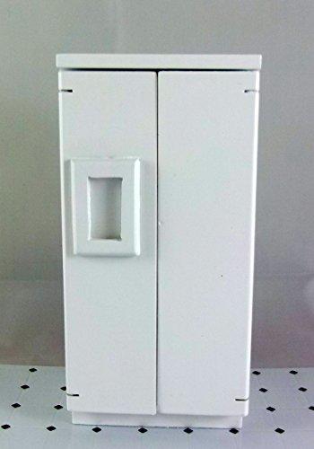 Preisvergleich Produktbild Puppenhaus modern weiß Holz Kühlschrank Gefrierschrank Miniatur 1:12 Küchenmöbel