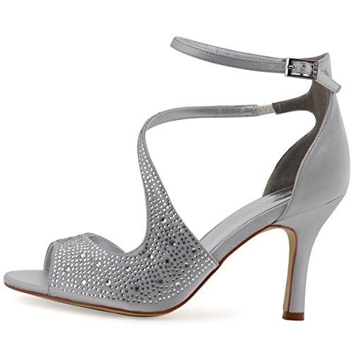 ElegantPark HP1505 Sandali da sposa col tacco a spillo peep toe scarpe da  sposa 55933cc1a081