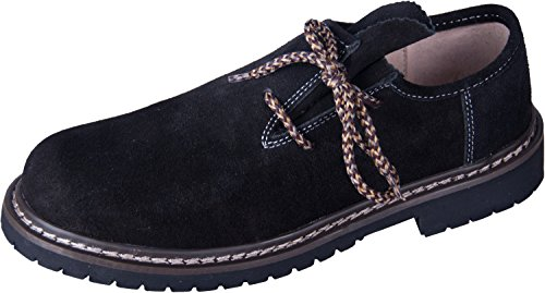 Almwerk Herren Trachtenschuh aus echtem Leder in verschiedenen Farben, Schuhgröße:EUR 46, Farbe:Schwarz Weiß