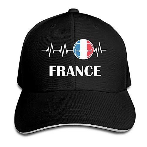 4b33841cc6854 Monicago Unisex Soccer Heartbeat I Love France Adult Adjustable Baseball Cap