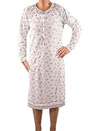 Seniorenmode24 Damen Senioren Oma Nachthemd Größe 36 bis 60 mit Blumenmuster kuschelig weich aus Baumwolle ideal für pflegebedürftige Omas einfach anzuziehen und super pflegeleicht