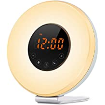 IREALIST Touch Control Alarm Clock, Sunrise Simulation Wake-Up Light with Optional RGB Night Light, FM Radio &Snooze Function