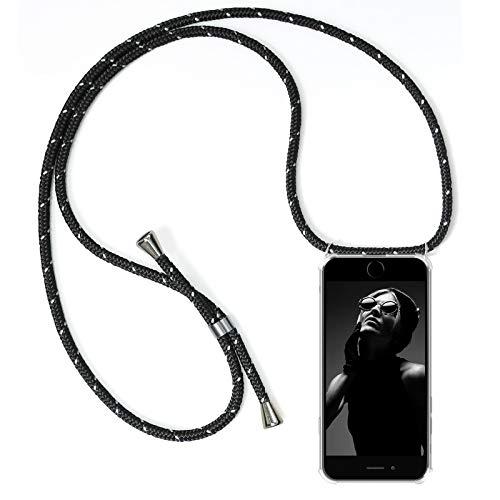 ZhinkArts Handykette kompatibel mit Apple iPhone 6 / 6S - Smartphone Necklace Hülle mit Band - Schnur mit Case zum umhängen in Schwarz reflektierend