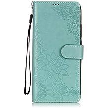 Slynmax Xiaomi Redmi 2S - Funda de piel con tapa para Xiaomi Redmi 2S (incluye lápiz capacitivo), diseño de flores, verde