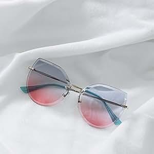 VVIIYJ Polygonal Rahmenlose Cut Cat Eyes Sonnenbrille Weibliche Marine Farbverlauf Sonnenbrille Uv Schutz Weiblich ,Gradient Powder