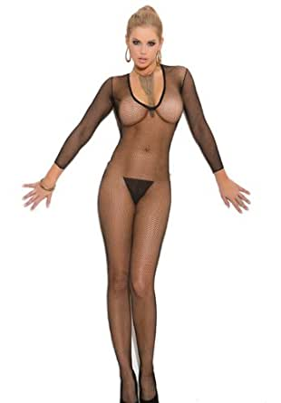 Elegant Moments Sexy Black Deep V Front Fishnet Bodystocking. One Size & Plus Size
