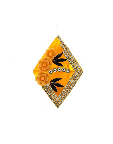 Anuradha Art Orange Colour Geometric Shape Flower Styled Designer Saree Pin/Brooch For...