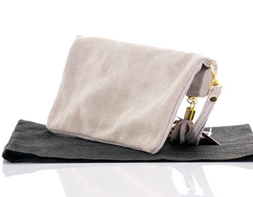Italienische Wildleder Leder Falten über Kupplung, Handgelenk oder Umhängetasche.Umfasst eine Marke schützenden Aufbewahrungstasche. Hellbeige