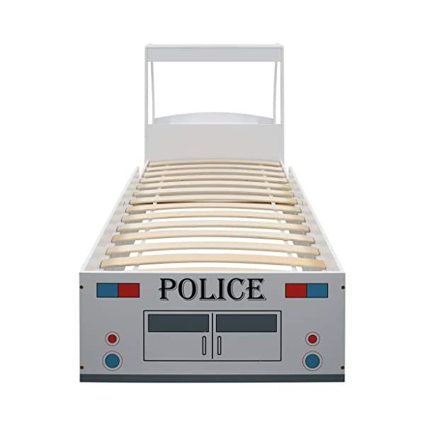 Festnight` Children's Police Car Bed with Desk 90x200 cm Festnight Overall dimensions: 260,5 x 97 x 117 cm (L x W x H) Featuring an appealing police car design and solid construction, this children's bed will be a real eye-catcher in your kid's bedroom. Comfortable, functional, and aesthetically-pleasing, this bed is designed to ensure the utmost comfort and maximum safety for kids. 5