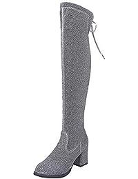 0a205d275f Zapatillas de Mujer Botas Altas con Cordones y Punta Redonda para Mujer Botas  sobre Rodilla Tacones