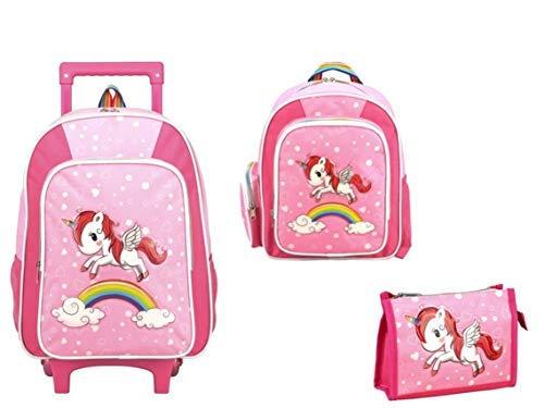 STEFANO Kinder Reisegepäck Einhorn Unicorn Set Pink mit Regenbogen für Mädchen