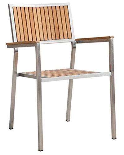 AS-S Designer Gartenstuhl mit Armlehne Gartensessel Stapelstuhl Stapelsessel Sessel KUBA-TEAK Edelstahl Teak A-Grade stapelbar sehr robust von AS-S