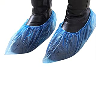 IGEMY 100pcs Outdoor Disposable Plastic Shoe Covers Carpet Cleaning Overshoes (Blue)
