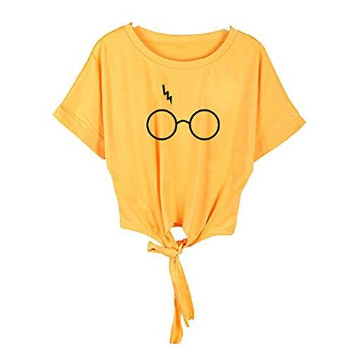 Oberteil Bauchfrei Damen, Ulanda Frauen Mode Knot Shirt Bluse Sport Crop Top Teenager Mädchen Casual Brille Drucken Locker Tops Sommer Kurzarm T Shirt Hemd Pullover (Gelb, ()