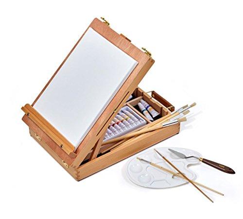 Set de peinture pour chevalet - Boîte à chevalets, Set de peinture acrylique, Toile, Pinceaux, Couteau à...