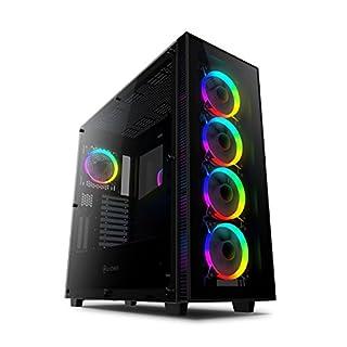 anidees AI Crystal XL RGB Version Full Tower Gehärtetem Glas ATX PC Gaming Gehäuse Unterstützung 480/360 Radiator w/ 5 x 120 RGB Fans - Schwarz AI-CL-XL-AR