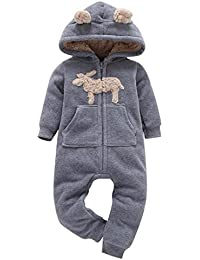 285bd5364d10 SHOBDW Girls Rompers, Infant Baby Boys Girls Autumn Winter Thicker Print Hooded  Romper Jumpsuit Outfit