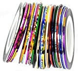 JOVANA Nail Stripes Striping Tapes- Wonderful Nail Decoration Set Kit of 30 Nail Strips Nail Striping Tape in 30 Different Colors. Looks Amazing with