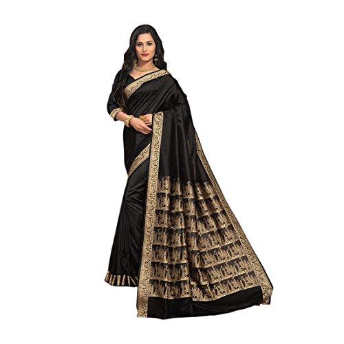 Craftsvilla Women's Silk Saree with Zari Border Work Traditional Black Saree with...