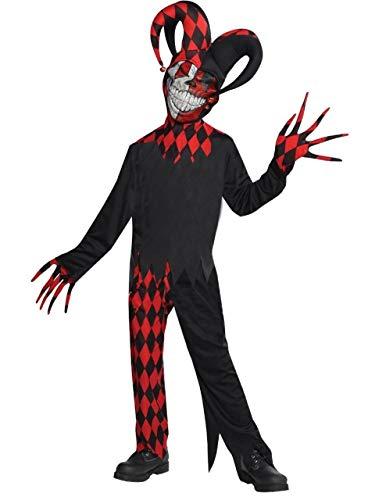 Fancy me ragazzi teenager crazed giullare rosso nero joker halloween circo carnevale 5 pezzi costume vestito 8-16 anni - 14-16 years