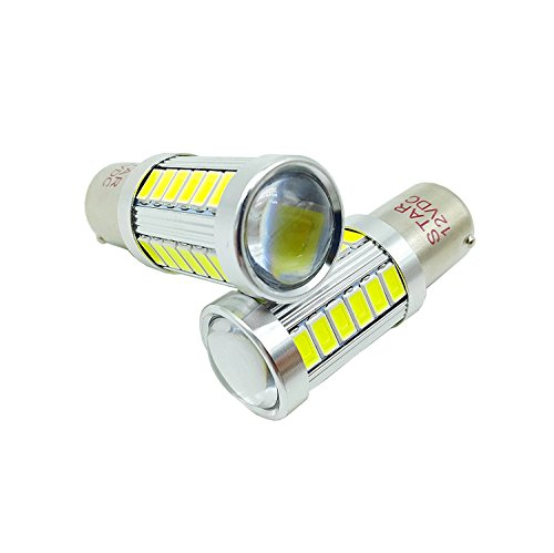 STAR P21W 1156 BAU15S Lámparas de señal de marcha atrás, 33 LED Bombilla 5730 SMD Super Bright 12VDC Luz de coche Auto, Color: blanco (Pack de 2)