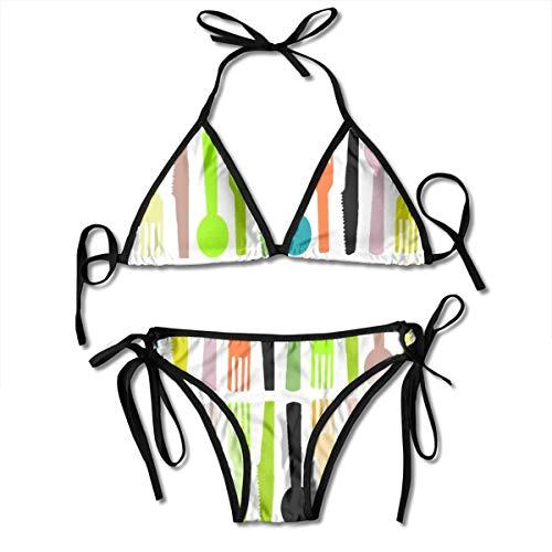 Fun Life Art Mode Platte Küche Besteck Weiß Damenmode Bikini Bademode Sexy Badeanzug Strand Schwimmen Anzug