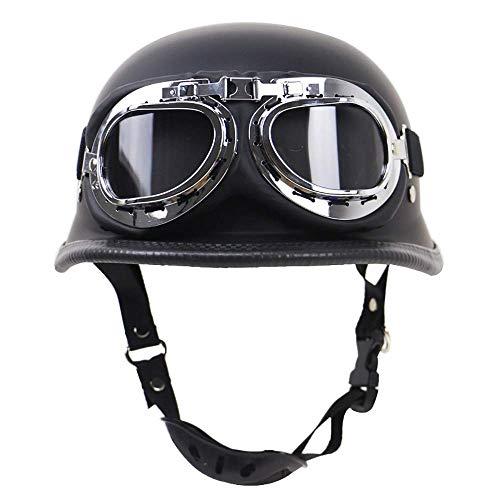Shfmx Casco motociclistico semiaperto retrò Estivo, Casco Incrociato Tedesco Defence Force Casco Jet Certificato DOT con Occhiali da Aviatore,M