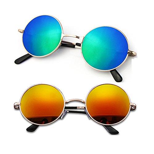 Mangotree 2 Paar Unisex Kinder Sonnenbrille Hippie Kleine Linse Runde Sonnenbrille für Mädchen & Jungen (3~12 Jahre Alt) UV Schutz Mode Retro Hipster Brillen (Free Size, Blaues Grün + Lila Rot)