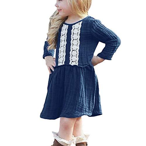 Fenverk Baby MäDchen Halsband Kleider Neugeborenes Lange äRmel Kirsche Party Prinzessin Kleinkind Blumen Kleid Outfit(Marine,2-3 Years)