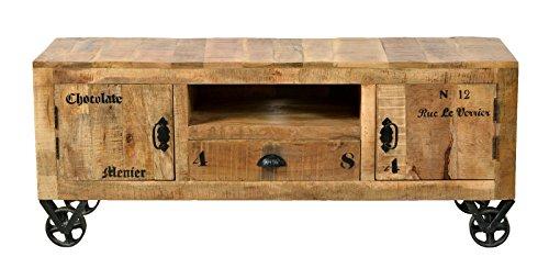 SIT-Möbel Rustic 1915-04 Lowboard mit 2 Türen, 1 Schublade, 1 offenes Fach, aus Mangoholz, Antik, braun, Wortprints, 140 x 40 x 55 cm