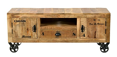 fernsehmoebel holz SIT-Möbel Rustic 1915-04 Lowboard mit 2 Türen, 1 Schublade, 1 offenes Fach, aus Mangoholz, Antik, braun, Wortprints, 140 x 40 x 55 cm