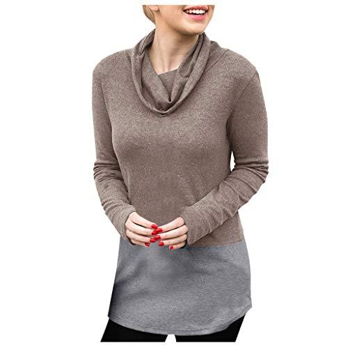 RefillDamen Stilvoll Rollkragen Slim Fit T-Shirt Langarm-Sweatshirt Einfarbig Beiläufig Blusen...