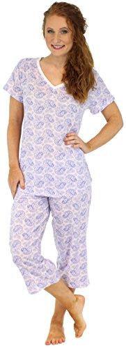 Sleepyheads Ensemble de Sleepyheads Ensemble de pyjama femme manches courtes et capri coton vêtement de nuit Motif Cachemire Pervenche et Blanc