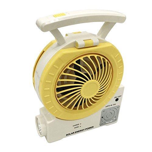 DHD Multifunktionaler Solarventilator elektrischer Outdoor-Angelventilator mit Radio/MP3/Tischlampe/Taschenlampe/Handy-Ladefunktion für Camping, Angeln und Unterhaltung gelb