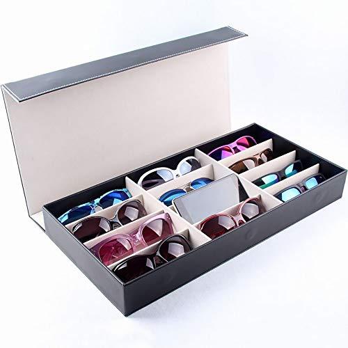 Keliour-sun Sonnenbrillen Aufbewahrungsorganisatoren 12-Frame-PU-Brille Speicher Display Box Schmuck Uhr Aufbewahrungsbox Für Brillenuhren Schmuck (Farbe : B)