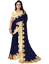 4f7b5f471 Viha Pure Viscouse Women Festive Wear Embroideried Blue Saree