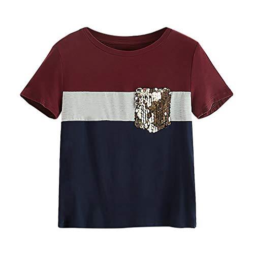 Frauen T-Shirt Splicing Kontrast Farbe Block Tops Oansatz Pailletten Pocket Kurzarm Tops Weste(Wein,S) -