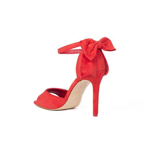 Ideal Shoes Sandales à Talon Effet Daim avec Nœud Ilena Rouge
