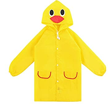 Aelegant Unisex Kinder Jungenmädchen Süße Cartoon Form Regenmantel Wasserdicht Regenjacke Mit Kapuze Softshelljacke Regenponcho (One Size, Gelb Enten) 0