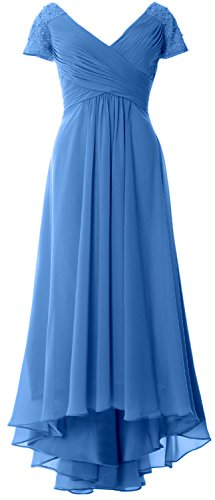 MACloth Cap Sleeves V Neck High Low Mother of Bride Dress Evening Formal Gown Blau
