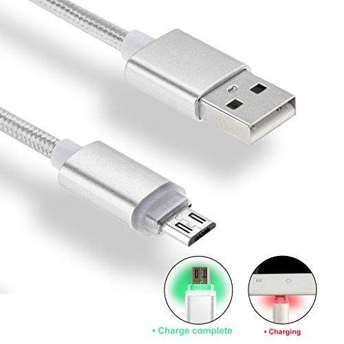 iMusi Micro USB Kabel für Android Smartphone mit LED High Speed [Syncwire & Ladekabel] - Lebenslange Garantieserie - für Samsung Galaxy, HTC, Huawei, Sony, Nexus, Nokia, Kindle und mehr Silber (Kindle Videospiele)