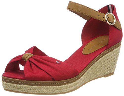 Tommy Hilfiger Damen Iconic ELBA Sandal Plateausandalen Rot (Tango Red 611) 38 EU