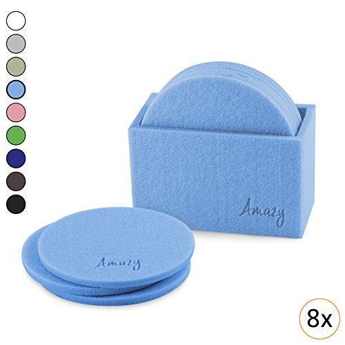 Amazy Filz Untersetzer (8 Stück) – Dekorative Glasuntersetzer aus Filz für Tisch und Bar mit praktischer Aufbewahrungsbox (Rund, Hellblau) (Aufbewahrungsboxen Runde)