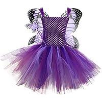 JJAIR Mariposa del Arco Iris Tutu Falda, en Capas de Tul tutú del Ballet del Vestido de la Falda de cumpleaños con alas de la Mariposa,L