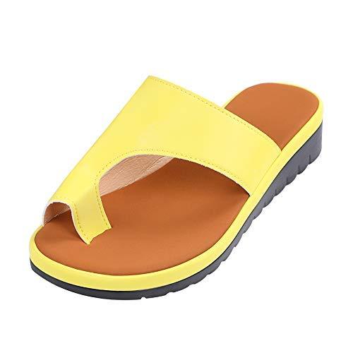 Plattform-flip-flop-sandalen (Vertvie Damen Sandalen Bequeme Plattform Pantoletten Zehentrenner Hausschuhe Sommer Strand Reise Schuhe Flach Flip Flops(37 EU, Gelb))