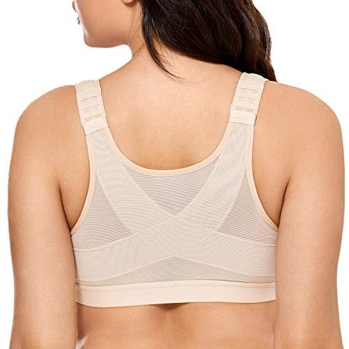 Delimira Femme Soutien-Gorge Fermeture Devant Posture sans Armatures Beige FR:95D