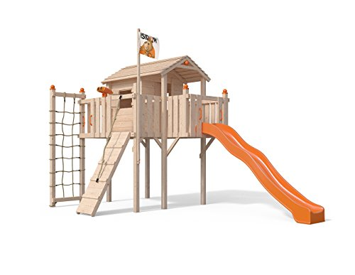 Terrizio XL-Spielturm Baumhaus mit Rutsche, Kletterrampe, Kletternetz und Spielhaus auf 1,50 Meter Podesthöhe (Orange)