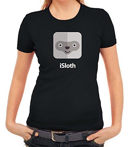Faultier Damen T-Shirt mit iSloth Motiv von ShirtStreet Schwarz